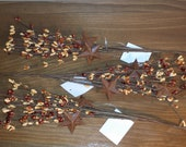 Set of 3 Tan and Brown Pip Berry Picks with Rusty Stars - Sprays - Stems, 12 inch