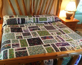 King Size Watercolor Blooms Quilt