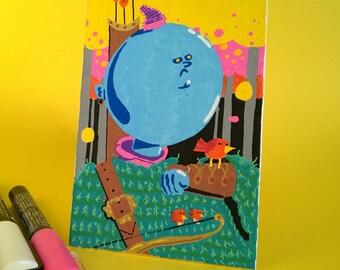 Blue Elf, Acrylic on board canvas, 10 x 15 cm