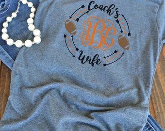 Football Coach's wife monogram - woman's graphic t-shirt - football wife shirt