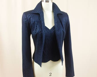 80s Alberto Makali Jacket and Top * Navy Blue Jacket * Cache Jacket * Fitted Jacket * Sweetheart Neckline Top * Navy Blue Blazer