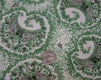 "Vintage Cotton Fabric Great Print c.1940's Green,White,Black 3 1/3 Yards, 35"" Wide"