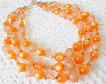 Vintage Orange Moonglow 3 Strand Necklace, Fruit Salad Colors, Retro, Tangerine & Peach, Layered, Signed Vtg, 50's Rockabilly, Thermoset