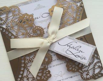 NEW Parfum Laser Cut Wedding Invitation