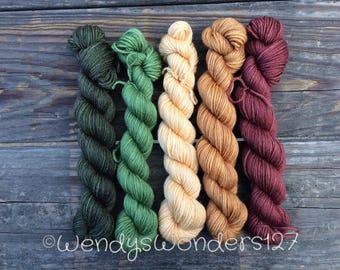 Hand Dyed Yarn,  Mini Gradients Sets,  Mini Skeins, 500 yards, MCN,  Tonal, Semi Solid coloring