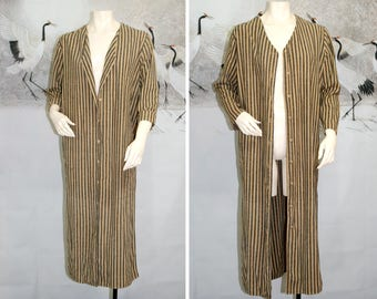Vtg Raw Silk Striped Duster Jacket / Unique THE LIMITED Long Sleeve Button Down