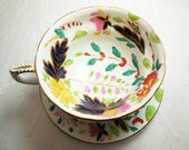 Grosvenor Hand Painted Floral Tea Cup and Saucer with Gold Trim Accents, English Bone China, Vintage Teacup, Pattern 4238