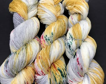 Jimmy Sock, Hand Dyed Yarn, Sock Yarn, HauteKnitYarn, Superwash Merino, Nylon, Fingering weight, yarn, speckled, Silver and Gold
