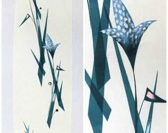 SALE Hand Painted Silk. Vintage Japanese Yukata Fabric. Abstract Mid Century Modern Kitsch Design. (Ref: 1211)
