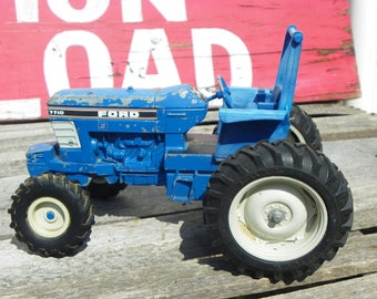 Vintage • Blue Ford ERTL Metal Toy Tractor | Childrens Toy Child Toddler Shabby Farmhouse Cabin Farm Chic Home Decor | USA