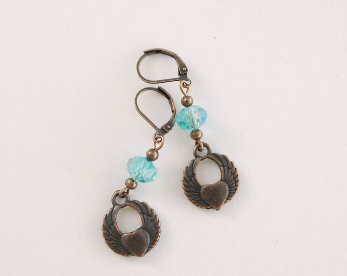 Antique copper dangle earrings with turquoise czech glass beads and heart and angel wings pendants, victorian style, romantic, boho, retro
