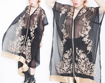 90s Vintage Black Witchy Sheer Mesh Rose Gold Embroidered Poncho Drape o/s
