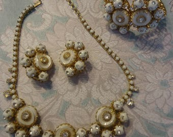 Vintage 3 Piece Jewelry Set, Necklace, Bracelet, Clip Earrings, Gold Tone w/ White Beads and Rhinestones, Signed Ballet
