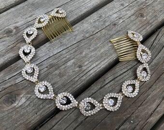 Bridal Headpiece Gold, Gold Bridal Hair Accessories, Gold Headpiece, Gold Bridal Comb, Gold Halo Hair Piece, Gold wedding Headbands
