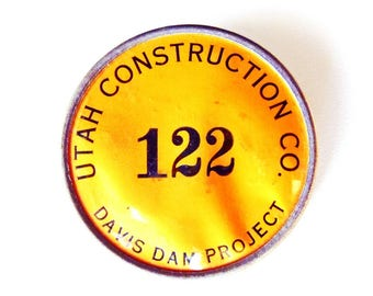 Davis Dam Project Lake Mohave WWII Era 1942-1952 Memorabilia Utah Construction Co Worker ID Badge Colorado River US Bureau of Reclamation