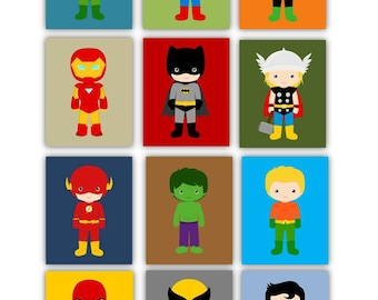 "Superhero Art Prints // Superhero Nursery Decor // Superhero Art for Kids // Art for Boys Room // 8X10"" CHOOSE Six, set of (6) six"