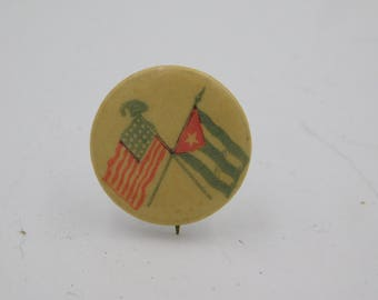 Original 1898 Spanish American War Flags Pin Back Button   Dr27
