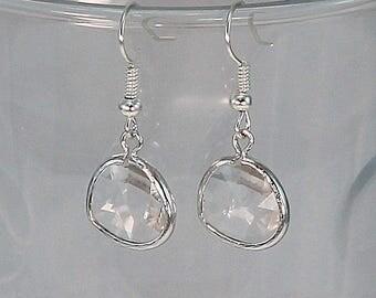 Crystal earrings, bridal earrings, clear crystal earrings, gift for her.