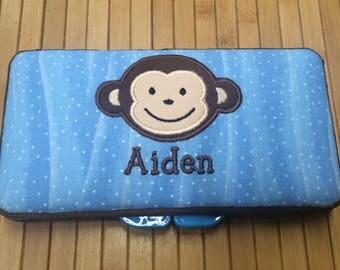 Personalized Baby Boy Monkey Wipe Case