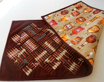 Whiskey and Cigar Table Runner-Reversible-Free Shipping to US and Canada