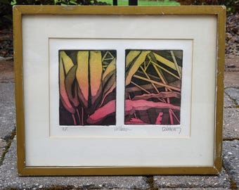 """Mid Century Artist's Proof Color Etching titled """"Hot House"""" signed by Artist Delancey"""