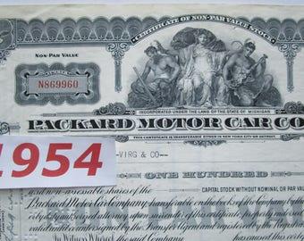 1954 PACKARD MOTOR CAR Co Stock Certificate Gray Original Automobilia Gift. Retro 1950s. Automotive Memorabilia Collectible. Old Car Decor.