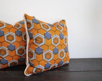 Bold Modern Geometric African Waxprint Cotton Throw Pillow