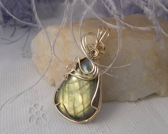 Green Labradorite Wrapped in Gold-Filled Wire