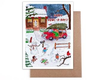 Happy Howl-D-days dog christmas card