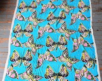 "1960s Hand Screen Print Rayon Crepe Fabric Butterflies 42"" x 56"""