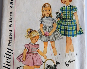 Vintage 50's Simplicity 4120 Sewing Pattern, Girls' Dress, Size 3, 22 Breast