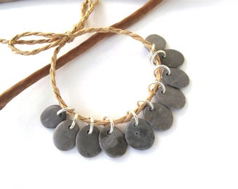 Rock Beads Small Mediterranean Natural Stone River Stone Jewelry Supplies Pairs Tiny GRAY CHARMS 12-13 mm