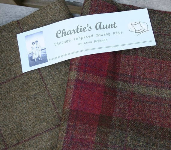 Two pieces of co-ordinating British woven Shetland wool tweed, plaid fabrics in shades of wine and camel/brown