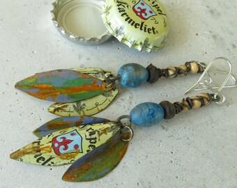 3 leaves recycled Karmeliet beige blue tin bear cap earrings