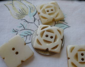 "Square Flower Hand Carved Bone Buttons Ethnic 25MM 40L 1"" knit crochet embellish 2-hole sew on tribal vintage each is OOAK Bovine"