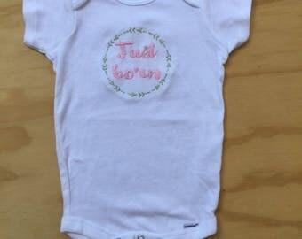 Just Born Baby Onesie, Embroidered Bodysuit, Newborn Onesie
