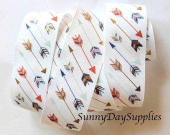 Arrows Grosgrain Ribbon, White Grosgrain, 3 YARD ROLL , 1.5 inches wide, Arrows, Gold Foil Arrows, Red, Blue and Teal Arrows, Hunting Arrows