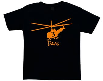 Helicopter Shirt for kids - any name and age - you pick the colors!