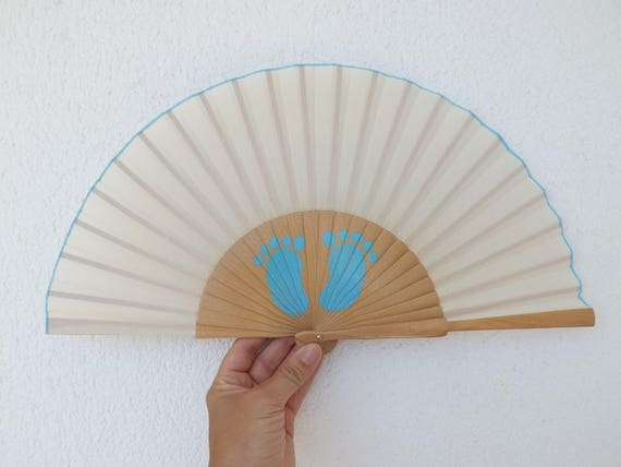 Blue Baby Feet Natural Hand Fan