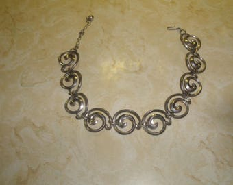 vintage necklace choker silvertone scroll chain