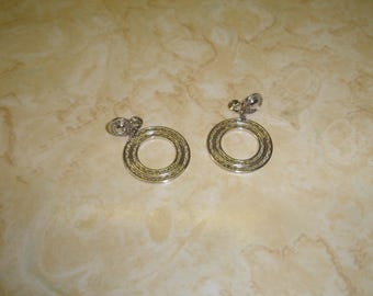 vintage clip on earrings silvertone hoops dangles monet