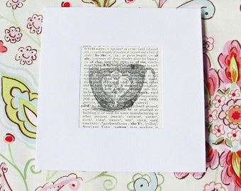 Teacup Greeting Card. Blank Square Vintage Dictionary Page. Birthday Celebration Christmas Handmade. Upcycled For Her Women Printed. Tea Cup