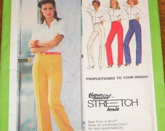 Vintage 1970s Sewing Pattern Simplicity 9267 Pull on Proportioned Knit Pants, Womens Misses Size 10 12 14 Waist 25 26 28 Uncut Factory Folds