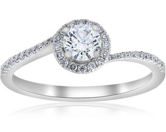 GIA Certified Pave Halo Diamond Engagement Ring .60ct 18k White Gold sz 6.5 J-VS