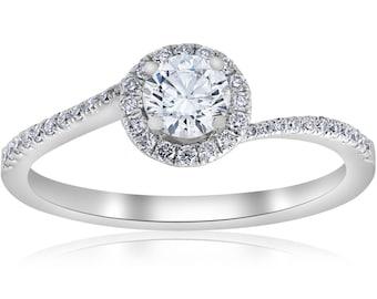 GIA Certified Pave Halo Diamond Engagement Ring .60ct 18k White Gold sz 6.5 J-VS