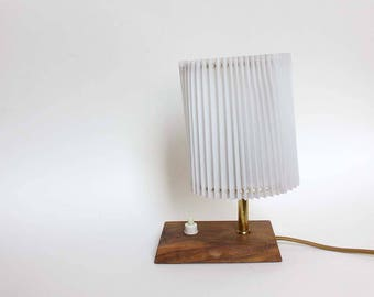 1960s Small Bedside Table Lamp /night light. Wooden/teak base, pleated shade. Affordable Mid Century Modern / FLAWED/ PRICE REDUCED.