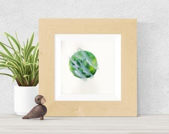Original Watercolor Green Planet with Clouds Painting Weather Art Astronomy Astrology Moon Star Galaxy Art OOAK Limited Edition
