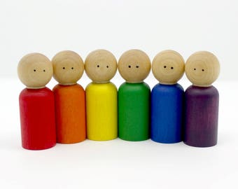 Wood Peg People Set - Classic Rainbow