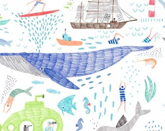 Pier Pressure, Dear Stella Fabrics, White Life of Porpoise, Fabric by the Yard, ST-940WHT