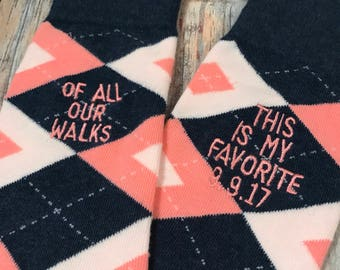 Father of the Bride gift - of all our walks - Wedding Gift - Dad Gift - Father of the Bride socks - wedding socks - Pink Navy Wedding socks